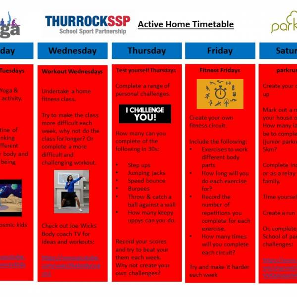 Thurrock SSP Active Home Timetable
