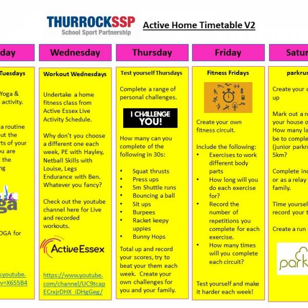 Thurrock SSP Active Home Timetable V2